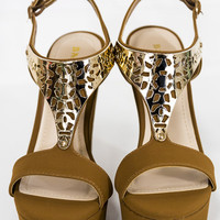 Now I'm Golden Chestnut And Gold Wedges