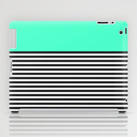 STRIPE COLORBLOCK {MINT/TEAL} iPad Case by natalie sales