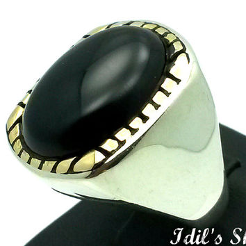 Men's Ring, Turkish Modern Style Jewelry, 925 Sterling Silver, Gift, Traditional Handmade, With Black Agate Stone, US Size 9.5