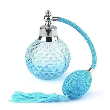 Vintage Style Glass Perfume Atomizer With Cut Glass Pineapple Pattern
