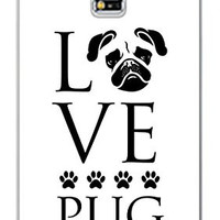 Love Pug Dog Direct Print (not a sticker) Samsung Galaxy S5, S 5 Quality Hard PVC Plastic Snap On Case for Samsung Galaxy S5 - AT&T Sprint Verizon - White Case