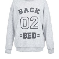 Pale Grey Back 02 Bed Print Sweater Pyjama Top