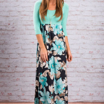 Peaceful Paradise Maxi Dress, Mint