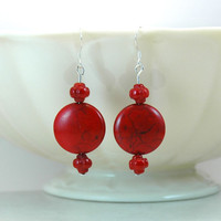 Red earrings, red round stone earrings, dangle earrings, red stone earrings