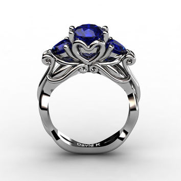 Nature Fairy 950 Platinum 1.0 Ct Round and Heart Blue Sapphire Three Stone Engagement Ring R1082-PLATBS