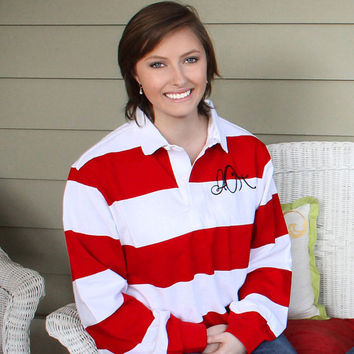 Greek Sorority Monogram Rugby Shirt Preppy Womens Long Sleeve Shirt