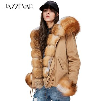 JAZZEVAR New Fashion Women's Luxurious Large Real Fox Fur Collar Cuff Hooded Coat Short Parkas Outwear Winter Jacket