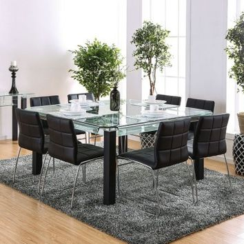 7 pc Batesland collection clear glass top and matte black metal frame dining table set