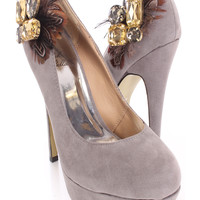 Grey Gemstone Feather Pump Heels Faux Suede
