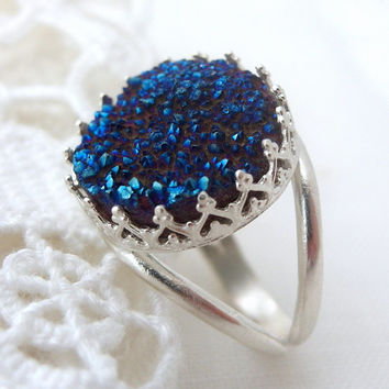 Druzy ring, Blue druzy ring, Sterling silver or gold, Gemstone ring, Bridal ring, Blue stone ring, Cocktail ring, 14mm stone, Vintage ring