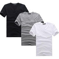 2017 NEW Simple Mens V Neck Simple Cotton T-shirt Slim Fit Short Sleeve Summer Clothes