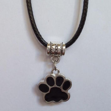 New Hot Vintage Popular Ancient Silver Wax Cord Necklace Drip Enamel Dog Cat Paw Print Charm Necklace For Women Christmas Gift