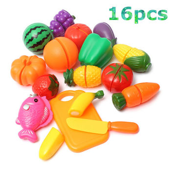 Plastic Kitchen Food Fruit Vegetable Cutting Toys Kids Pretend Play Educational Kitchen Toys Cook Cosplay For Chiledren