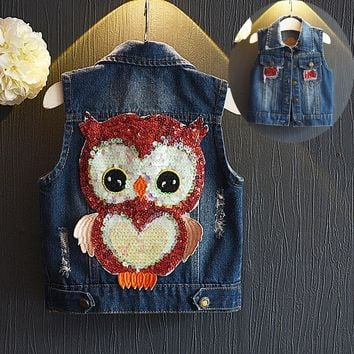 Toddler kids Denim Vest Coat For Boys And Girls Fashionable Cute Owl Pattern Waistcoat Baby Spring/Autumn jackets