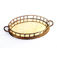 Vintage Brass Faux Bamboo Bar Tray / Vanity Tray