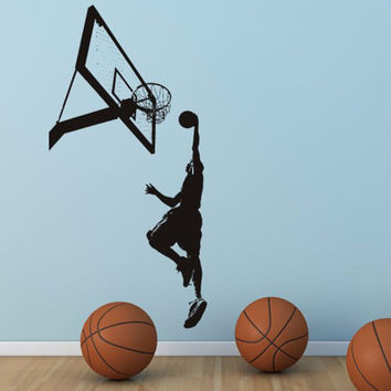 NBA Slam Dunk Basketball Wall Mural Removable Art Vinyl Wall Decal Room Decorative Sport Wall Paper 35inX65in