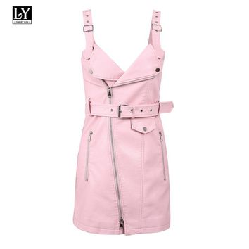 Ly Varey Lin Spring Women Pu Leather Dress Sexy V Neck Soft Pu Faux Leather Slim Sundress Sash Zipper Pink Punk Mini Dresses