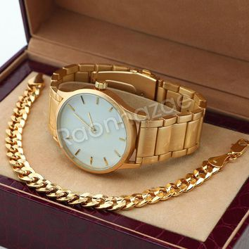 14K Gold PT Designer Bezel Metal Band Gold Watch Diamond Cut Cuban Bracelet G80G