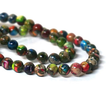 6mm Mixed Impression Jasper / round gemstone bead / 8 inch strand / colorful rainbow (1083S)