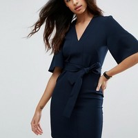 ASOS Clean Obi Tie Wrap Mini Dress at asos.com