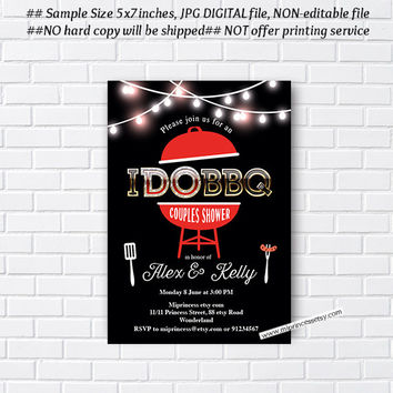 I Do BBQ Invitations, Wedding Shower Invites, Couples Shower BBQ, Wedding Shower BBQ Chalkboard, Engagement Party, elegant - card 707