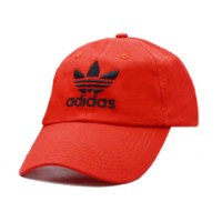 Red Adidas Embroidered 100% Cotton Adjustable Cap