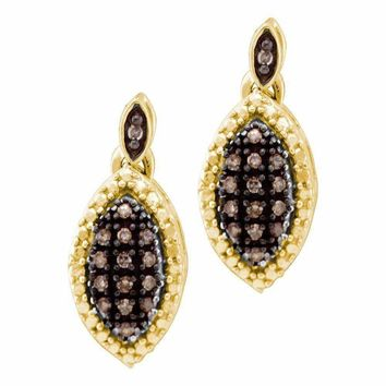 10kt Yellow Gold Women's Round Cognac-brown Color Enhanced Diamond Dangle Earrings 1-3 Cttw - FREE Shipping (USA/CAN)