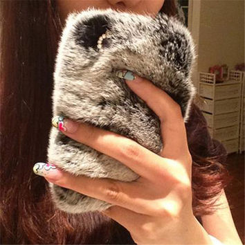Fashion Luxury Rhinestone Bling Fluffy Soft Rabbit Hair Winter Phone case For Iphone 4 4S 5 5S  Soft Skin phone Back Case