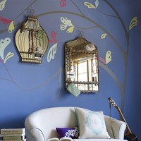 Spring Leaves Decal + Mirrored Birdcages
