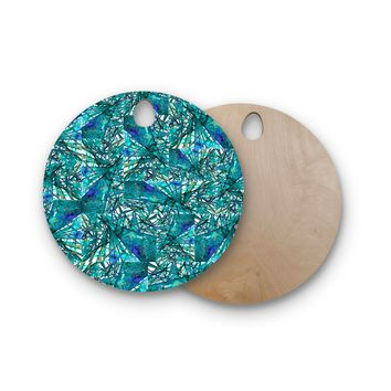 """Ebi Emporium """"New Directions, Peacock Cool"""" Teal Blue Pattern Geometric Mixed Media Painting Round Wooden Cutting Board"""