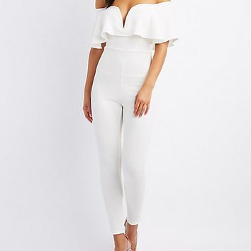 Notched Off-The-Shoulder Ruffle Jumpsuit