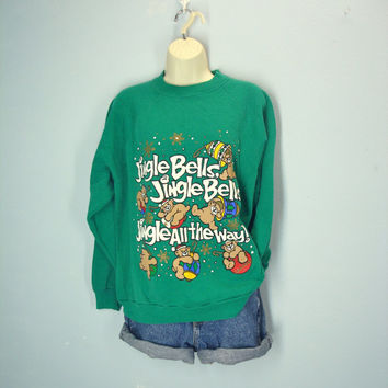 80s Ugly Christmas Sweatshirt / Jingle Bells / Teddy Bear Christmas Sweater