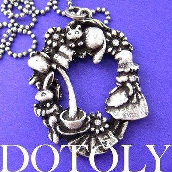 Alice in Wonderland Inspired Kitty Cat Bunny Rabbit and Teacup Necklace