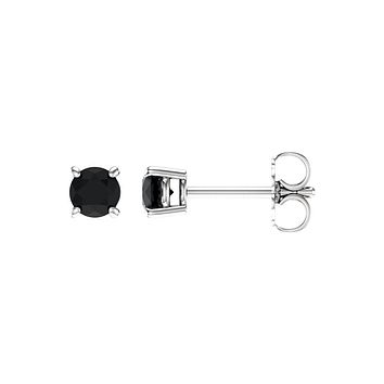 4mm Round Black Onyx Stud Earrings in 14k White Gold