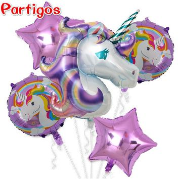 5pcs Large 116cm Purple Pink Unicorn Balloons 18inch star and round happy birthday foil Balloons baby shower party Decor supply
