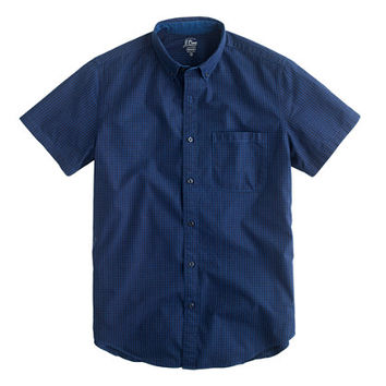 J.Crew Mens Secret Wash Short-Sleeve Shirt In Indigo Gingham