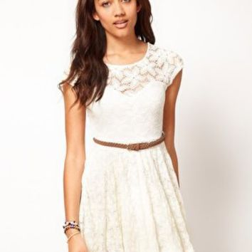 River Island Lace Skater Dress With Cap Sleeve at asos.com