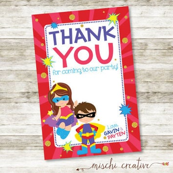 "Super Heroes Double Birthday Party DIY Printable  4"" x 6"" Vertical Thank You Card"