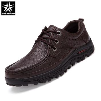 URBANFIND Good Quality Men Lace-up Dress Shoes Big Size 38-48 Genuine Leather Man Business Oxfords Black Brown 2 Color