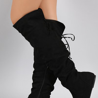 Bamboo Vegan Suede Slouchy Cutie Lace Up Flat Boots