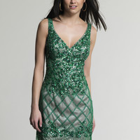 Dave & Johnny 243 Green Sequin V-Neck Short Prom Dresses Online