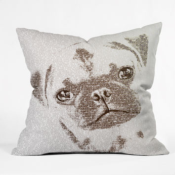 Belle13 The Intellectual Pug Throw Pillow
