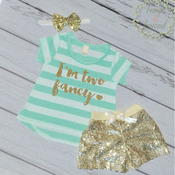 I'm Two Fancy - Second Birthday Outfit Girl Gold Glitter Two Year Old Girl Second Birthday T-Shirt Shorts Headband 137