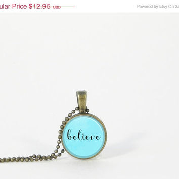 "ON SALE Little ""believe"" Blue Word Pendant Petite Small Layering Necklace Inspiration Encouragement Gift Jewelry"