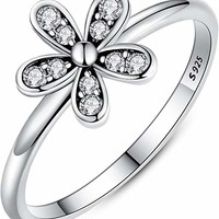925 Sterling Silver Ring Simple Flower with CZ High Polish Tarnish Resistant Comfort Fit Wedding Band Ring Size 6-9