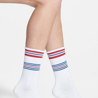 Women's Hot Sox Sporty Stripe Crew Socks , Size 9/11 - White (3 for $15)