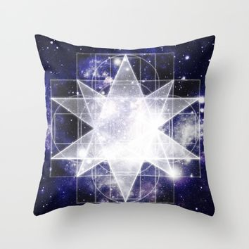 Sacred Geometry : Dark Blue Galaxy Throw Pillow by 2sweet4words Designs