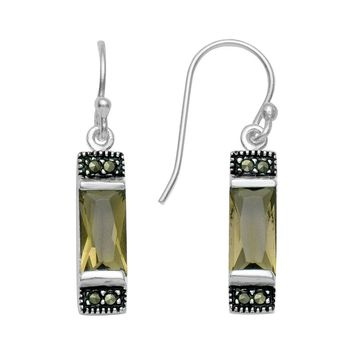Silver Plated Simulated Smoky Quartz & Marcasite Drop Earrings (Brown)