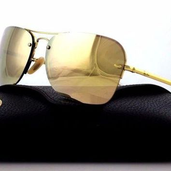 Kalete RARE Genuine RAY-BAN Gold Copper Mirror Rectangle Metal Sunglasses RB 3541 0012Y