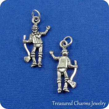 Tin Man Charm - Silver Plated Wizard of Oz Tin Man Charm for Necklace or Bracelet